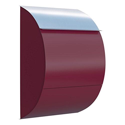 Briefkasten, Design Wandbriefkasten Jumbo Rot/Edelstahl - Bravios