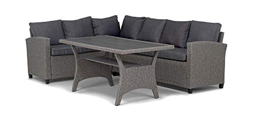 Homexperts Lounge Set Heathrow/Edle Garten-Garnitur in Dunkel Inkl. Tisch/PE Rattan/Gestell Metall/Outdoor Sofa/Ecksofa/Bank/Polster-Couch, Grau und Anthrazit