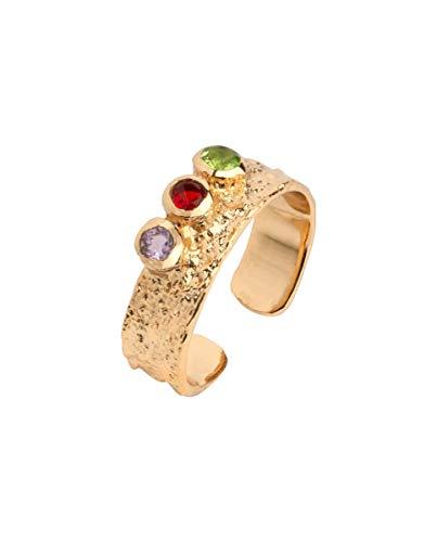 VIDAL & VIDAL Anillo Oro Ajustable Piedras Colores