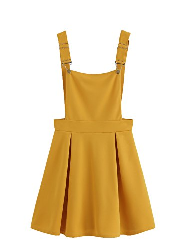 Romwe Women's Cute A Line Adjustable Straps Pleated Mini Overall Pinafore Dress Yellow S