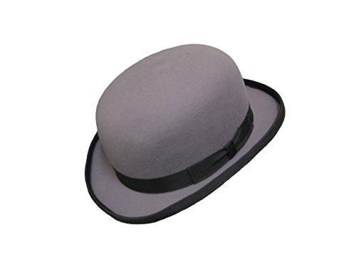 VIZ-UK WEAR Bonnet de bowler en laine rigide 100 % laine doublée satinée - Gris - Medium