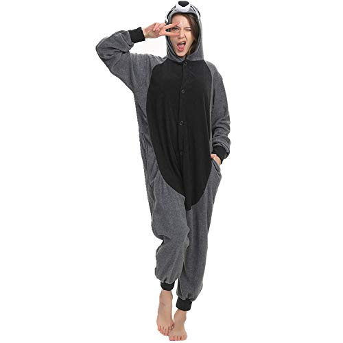 FZH Pijama Adulto de Lana Polar Kigurumi Jack Skellington Cosplay Disfraz Dibujos Animados Onesie Pijamas Halloween Carnaval Mascarada Fiesta Mono-Mapache_L.