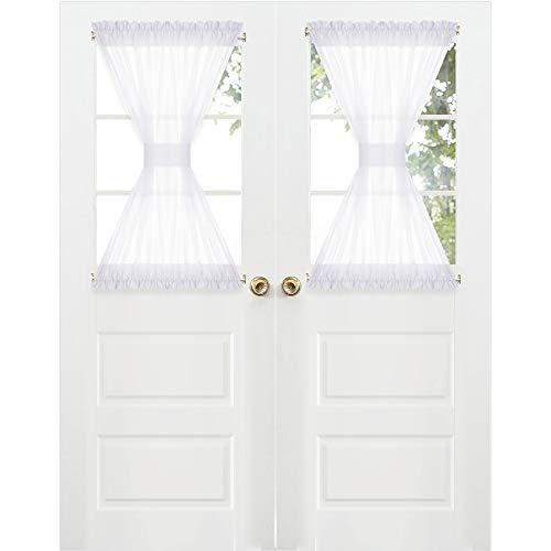 RYB HOME Sidelights Curtains for Door - Light Airy Sheer Window Curtain Panels for French Door Metal Door Front Door Backdoor, 2 Tie Backs, Wide 60 x Long 40 per Panel, 1 Pair, White