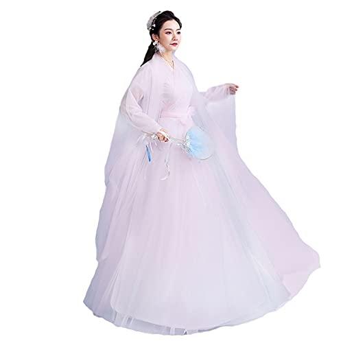 Hanfu chino tradicional Hanfu vintage bordado vestido para mujer manga larga para vacaciones sesiones de fotos ropa cosplay danza trajes impresión de flores