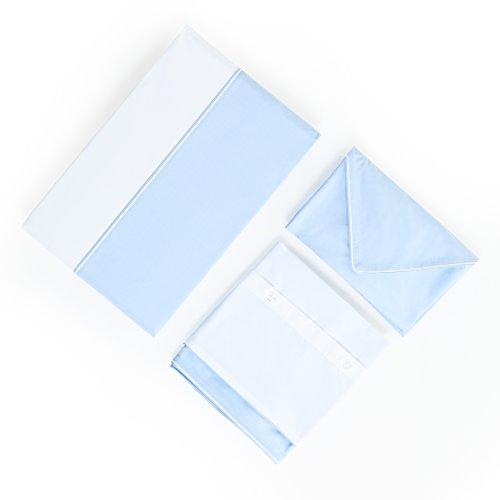 Rose Village  Luxus–Juego de Ropa de Cama, diseño La Baule, Fabricado en Francia, edelp bumeranes 80FD./cm² (200TC/EN²), Bicolor: Blanco/Azul, 100% algodón, Blanco/Azul, Funda de cojín 40 x 80