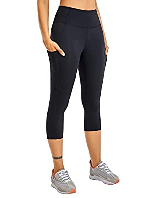 """CRZ YOGA Women's Naked Feeling High Waist Gym Workout Capris Leggings with Pockets 19 Inches Black 19"""" Small"""
