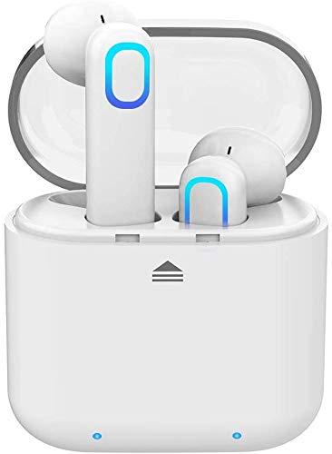 Acokki Bluetooth-Kopfhörer, kabellos, tiefer Bass, HiFi, 3D-Stereo-Sound, integriertes Mikrofon, Kopfhörer mit tragbarer Ladehülle für Smartphones und Laptops Weiß-Neu