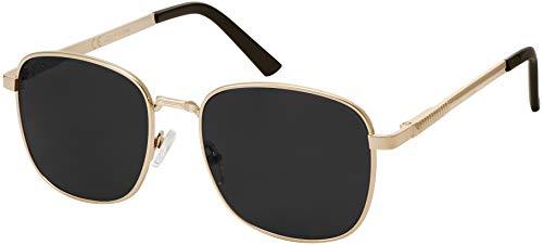 La Optica B.L.M. Herren Sonnenbrille Damen - Retro Pilotenbrille Fliegerbrille Gold - Brillenbeutel Brillenputztuch - Gläser Polarisiert Schwarz/Grau