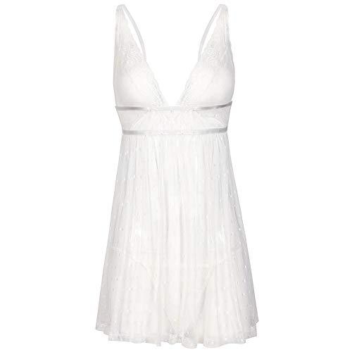 KTYRONE Falda de Tirantes de camisón Sexy para Mujer Pijama Sexy de lencería Sexy para Damas Europeas y Americanas. Color: Negro, Blanco,White,M