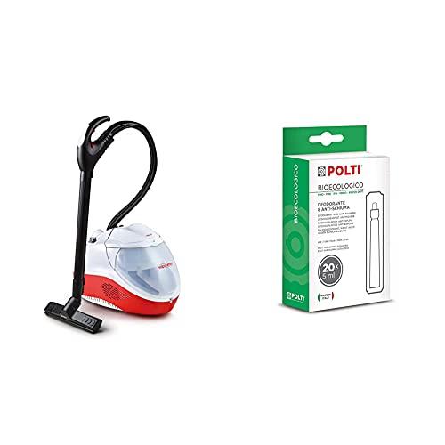Polti Vaporetto Lecoaspira FAV50 - Generador de vapor y aspiración con filtro de agua, 2450 W, 1.8 litros, aluminio + Polti Bioecologico, anti espumante y desodorante con fragancia a Pino
