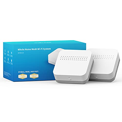 meross Wlan Router, WiFi 5 Dualband mesh Router Set, 4X Gigabit Ports, 867Mbit/s 5 GHz + 300Mbit/s 2.4 GHz, Mu-Mimo, Automatisch koppeln