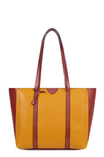 Hexagona Einkaufstasche A4 ODE, Gelb - Senf/Cognac. - Größe: L : 42 x h : 30 x P : 16,5 cm
