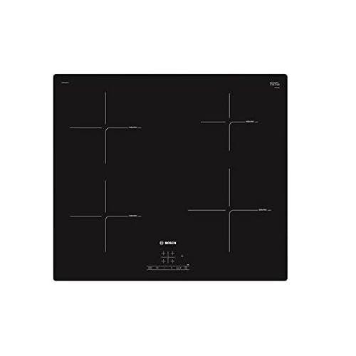 Bosch Elettrodomestici PUE611BF1J Piano Induzione 4 Zone di Cottura in Vetro 60 cm, 1000 W, 1 Liter, 1 Decibel, Nero