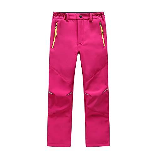 LAPLBEKE Niños Softshell Pantalones de Trekking Senderismo Pantalones Niñas pantalón Impermeable Resistente...