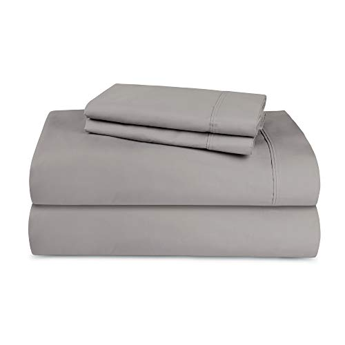 TRIDENT 300 Thread Count Cotton Deep Pockets Bed Sheet Set(Flat Sheet, Fitted Sheet, 2 Pillowcases), Solid, King, Grey/Wet Weather