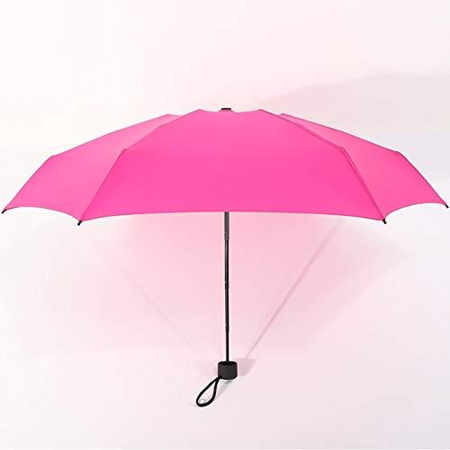Mdsfe 180g pequeño Paraguas Plegable de Moda Lluvia Mujeres Regalo Hombres Mini Bolsillo Parasol niñas Anti-UV Impermeable portátil ViajesParaguas - Rosa Rojo, a1