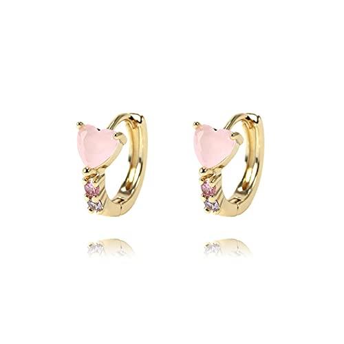 hcma Pendientes de la joyería del diseño del corazón de la Moda delArco IrisPendientes del aro del Color de Las Mujeres chapados en Oro de 14K 18K