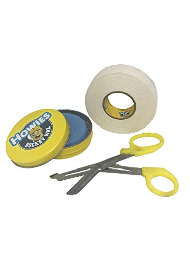 Howies Hockey Tape Bundle with Scissor and Wax for Ice Hockey Bundle Includes One Roll of White Tape, One Scissor, and One Tin of Wax