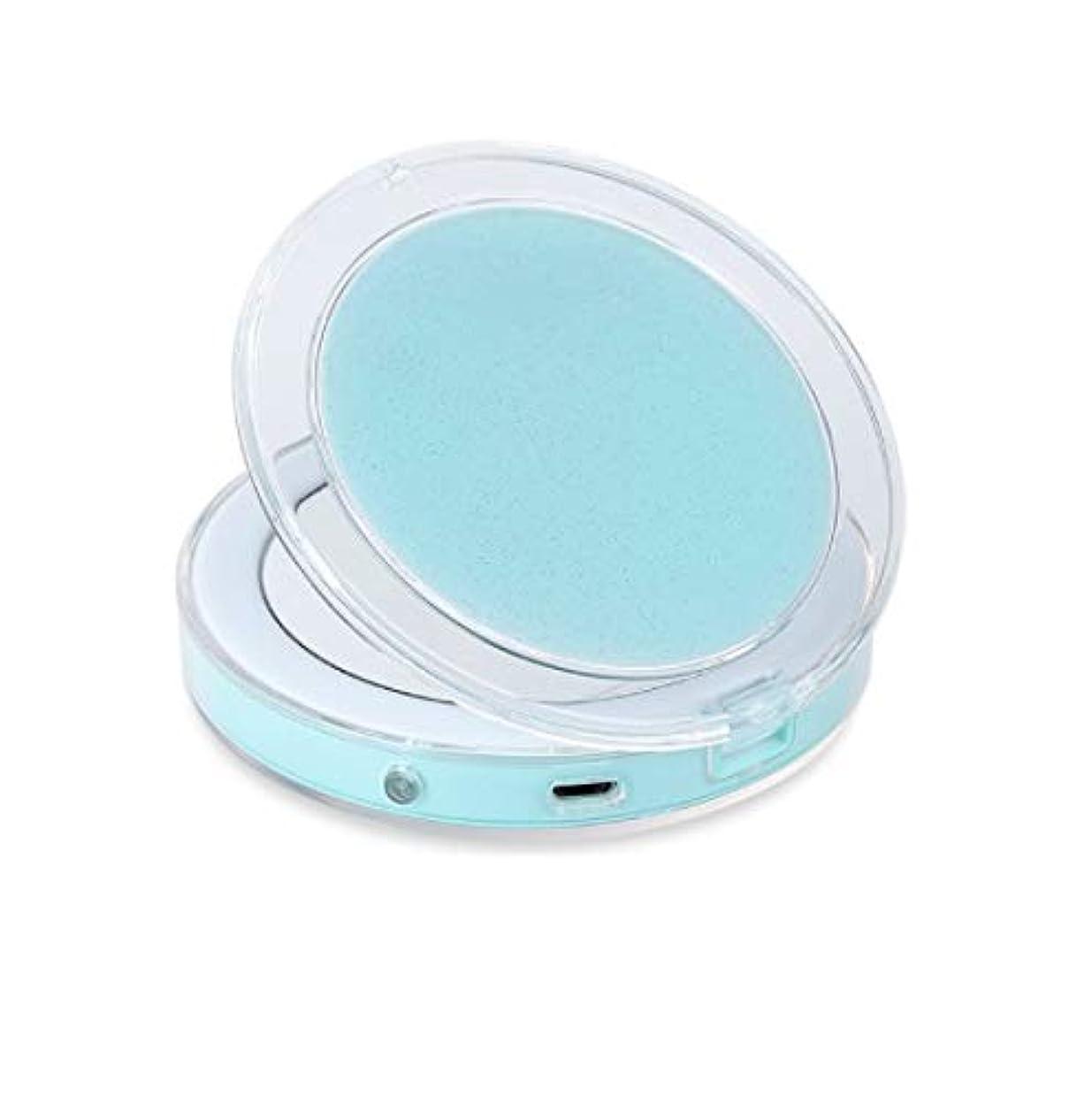 夜明け除外する結び目ミニポータブルled化粧鏡折りたたみ光化粧鏡3回小さな夜の光ミラー (Color : グリーン)