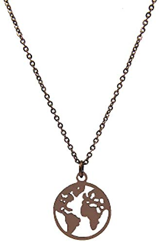UAGXFC Halskette Schmuck Frauen Edelstahl Herz Globus Weltkarte Anhänger Halsketten Outdoor-Reisen Erde Halsketten Farbe Kaffee