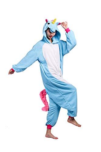 Tiere Onesie Karneval Kostüm Damen Jumpsuit Pyjama Schlafanzug Weihnachten Halloween Overall Nachtwäsche Faschingskostüme Herren Blau Einhorn