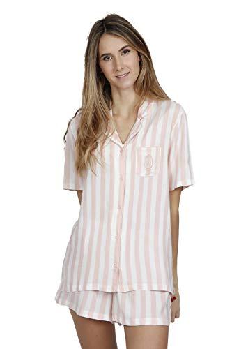 Admas Classic Pijama Manga Corta Abierto Classic Stripes para Mujer