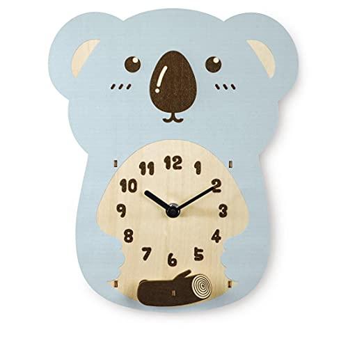 Koala - Reloj de Pared Infantil (silencioso, Madera)
