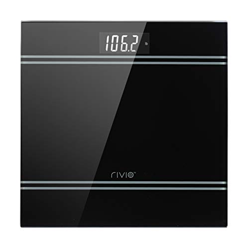 Lowest Price! RIVIO 440 lb High Capacity Digital Body Weight Bathroom Scale with Large LCD Backlight Display, Step-On Technology High Precision Measurements, 6mm Tempered Glass Black, Batteries Included