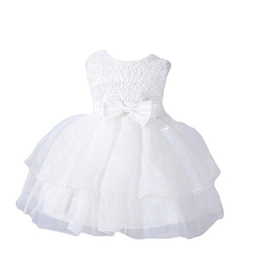 YuanDian Bimba Neonata Battesimo Cerimonia Abiti Tulle Pieghe Bowknot Senza Maniche Fiore Matrimonio Damigella Compleanno Partito Principessa Sera Vestiti Bianco S/0-6 Meses