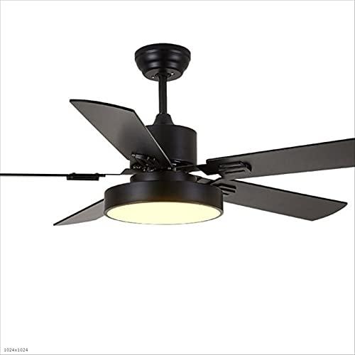 DJ Home Ventilador de techo retro de madera con 5 hojas para ventilador de techo nórdico, con control remoto, estilo chino del norte europeo chino (color: negro, tamaño: 42 pulgadas)