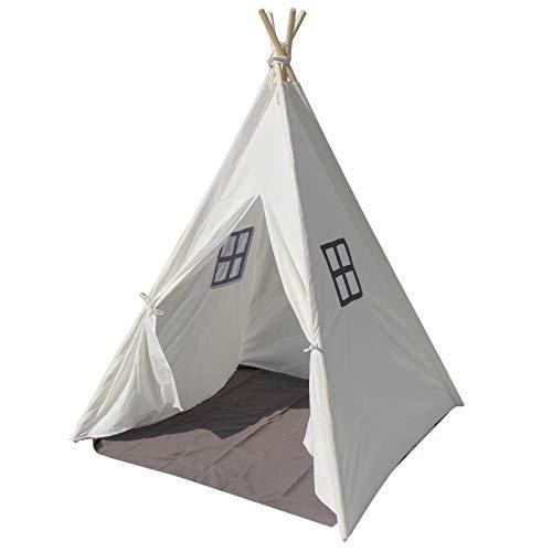 OUTAD Tenda da Gioco Indiana per Bambini, Tenda Teepee per Bambini con 2 Finestre, Tende da Gioco Adatto per Interni ed Esterni, con Borsa da Trasporto, Regalo per Bambini(Bianco)