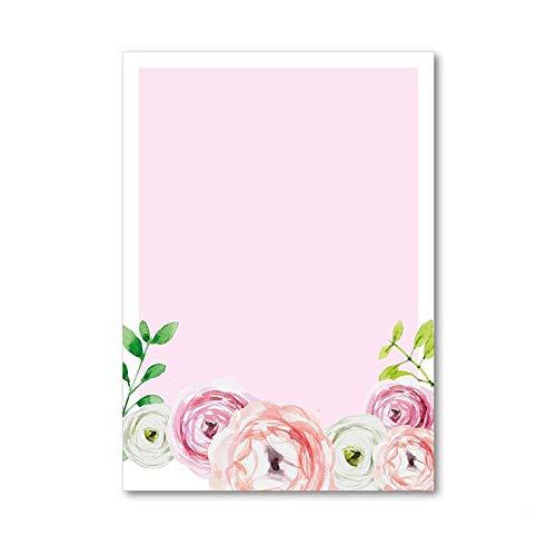 Juego de papel de carta flor   50 hojas papel con estampado en DIN A4   rosa   primavera invitación San Valentin amor rosas   dv_196