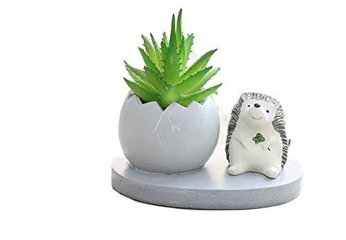 Cute resina jirafa Meaty Pot por swonvi, macetas con flores de resina de drenaje suculentas maceta jardín plantas jarrón para decoración de flores