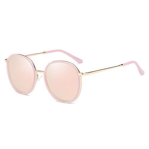 Kaper Go New Trend Gafas de sol polarizadas con marco redondo y protección UV400, marco transparente (color: rosa)