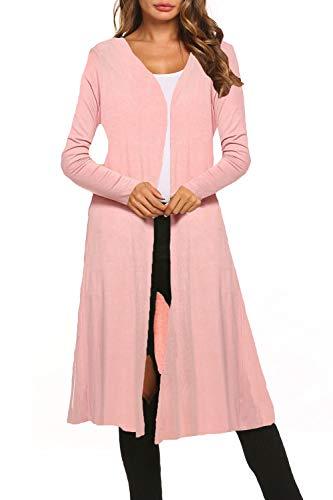 Bluetime Women Long Sleeve Plus Size Open Front Long Maxi Cardigan Longline Duster (XXXL, Dusty Pink)