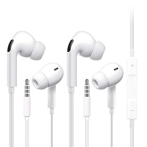 [2 Piezas] Auriculares, Auriculares de 3,5 mm, Auriculares con Control de Volumen y micrófono, Compatibles con la Mayoría de los Dispositivos con Conector para Auriculares de 3,5 mm