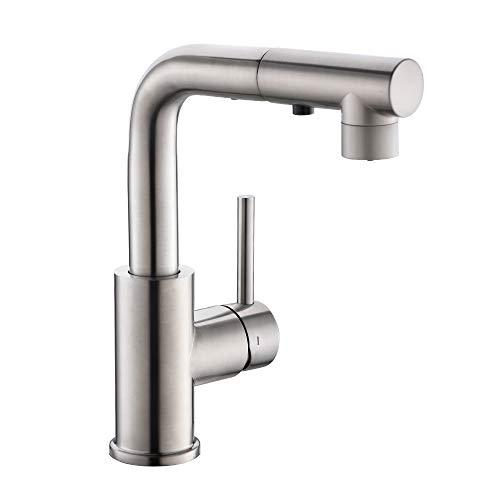 CREA Wasserhahn Küche, Küchenarmatur mit Ausziehbarer Brause, Mischbatterie für Küche oder Bad, 360° Drehbar Waschtischarmatur Bad, Edelstahl