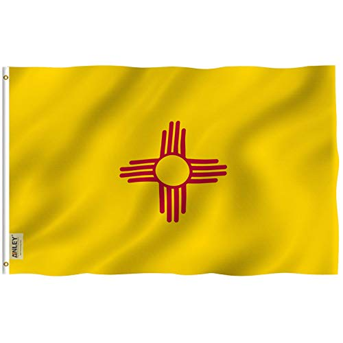 Anley Fly Breeze 3x5 Fuß New Mexico State Flagge - Lebendige Farbe und UV-beständig - Canvas Header und doppelt genäht - New Mexico NM Flags Polyester mit Messingösen 3 X 5 Ft
