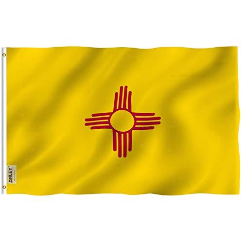 Anley Fly Breeze 3x5 Fuß New Mexico State Flagge - Lebendige Farbe und UV-beständig - Canvas Header und doppelt genäht - New Mexico NM Flags Polyester mit Messingösen 3 X 5 Ft