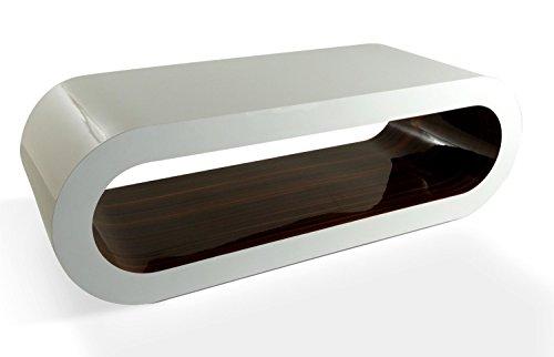 Zespoke Design Grandi retrò caffè Bianco e Strisce di Noce 110cm Cerchio Tavolo/TV Supporto