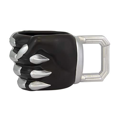 Paladone PP4838BP Taza con forma de pantera | Diseño de cómic negro taza de té | fresco y para oficina o hogar | Producto oficial de Marvel, cerámica