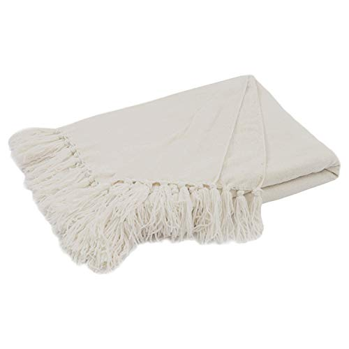 Chenille Knit Throw Blanket with Tassels 127x152cm Soft Cozy Sofa Chair Couch Bed Throw Blanket(white)