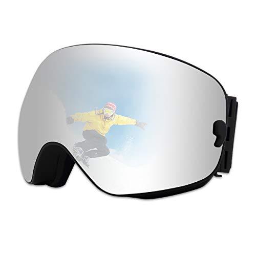 X-TIGER Maschera da Sci, Occhiali da Sci Ski Snowboard Antivento Anti Fog UV 400 Protezione con Staccabile Grandangolare Lenti Goggles Ampio Angolo di Visione (102)