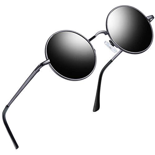 Joopin Redondas Gafas de sol Polarizadas Retro Vintage John Lennon Círculo Metálico Hippie Steampunk para Hombres y Mujeres UV400 Arma gris
