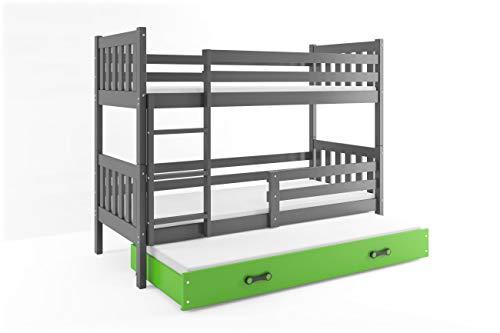 interbeds-es Litera Infantil Triple (3 Camas) 190x90, CARINO, Color Gris, cajón Verde, colchones de Espuma y somieres Gratis!