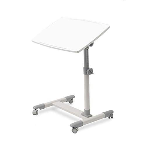RKRXDH Rolling Laptop Cart Mobile Laptop Desk With Wheels,Height Adjustable Tilting Bedside Sofa Couch Recliner Tray With Wheels Sofa For Living Room Bedroom overbed table (Color : White)