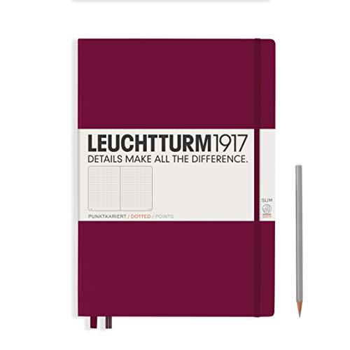 LEUCHTTURM1917 359787 Notizbuch Master Slim (A4+) Hardcover, 121 nummerierte Seiten, Port Red, dotted
