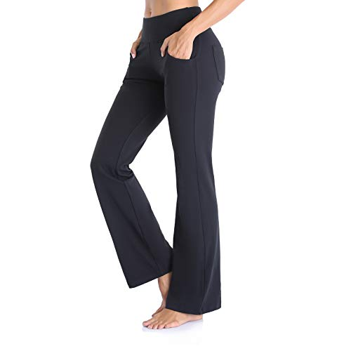 Vimbloom Pantalones de Yoga Bootcut para Mujer Largo Pata Anchos Pantalón de Piltes Cintura Alta Deportivos Leggins con Bolsillos para Yoga Fitness VI490 (Negro, XL)