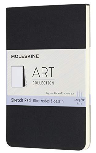 Moleskine Skizzenblock, Skizzenbuch (Papier für Bleistifte, Zeichenkohle, Stifte, Füllfederhalter und Marker, Softcover -9 x 14 cm, 48 Seiten) schwarz