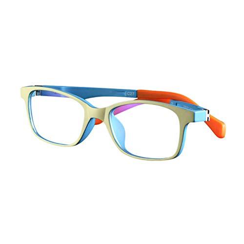 FEIDU Blue Light Blocking Glasses for Kids, TR90 Unbreakable Rectangle Flexible Frame Anti Glare Computer Gaming T V Glasses for Boys Girls Age 3-15 2020 (c1 Yellow Outside Green)